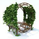 مدل تزئین باغ پارک فواره حوض سنگ چین درخت پل پیچک صندلی