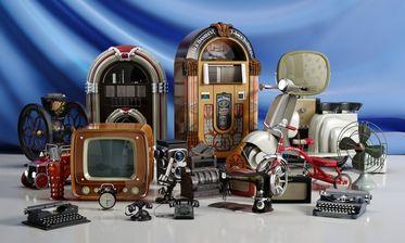 مدل وسایل قدیمی خانه دوچرخه پنکه چرخ خیاطی ساعت شماطه دار رادیو تلویزیون لامپی فرفره وسپا تلفن دوربین ماشین تایپ میکروسکوپ