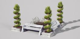 مدل باغ انگلیسی پارک لندسکیپ صندلی درخت دیوار فضای سبز آلاچیق مجسمه در فلزی پل روی رودخانه جنگل چشمه سنگریزه کنده درخت سنگ صخره شمشاد فواره