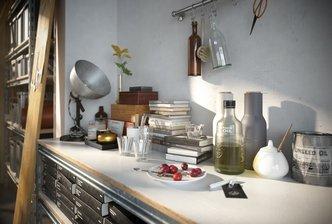 مدل سه بعدی وسایل خانه منزل تزدینی آشپزخانه گل گلدان جعبه صندوق صندلی چوب