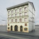 مدل سه بعدی ساختمان نمای ساختمان شهر بلوک مجتمع مسکونی فروشگاه نما آجر نما سیمان