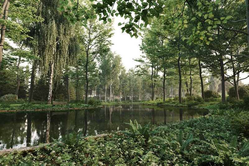 مدل سه بعدی درخت جنگل بید مجنون کاج