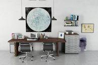 مدل سه بعدی تجهیزات اداری میز اداری مک بوک گلدان چراغ مطالعه صندلی مبل تبلت کیبورد کتابخانه پوستر کلاسیک مدرن سطل آشغال میز کلاسیک