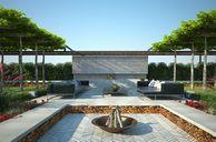 مدل سه بعدی باغ پارک چمن باربیکیو میز صندلی طراحی سه بعدی سنگریزه استخر