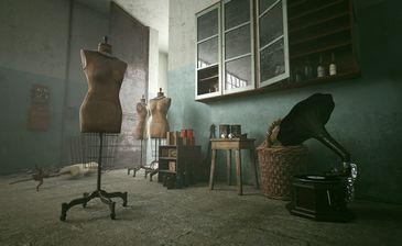 مدل سه بعدی دکوراسیون داخلی وسایل تزئینی قدیمی کلاسیک بطری گرامافون سیگار برگ تابلو نقاشی