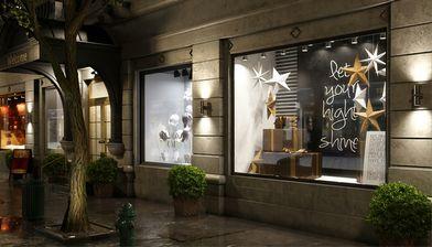 مدل سه بعدی ویترین مغازه مدرن