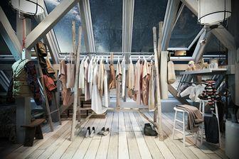 مدل سه بعدی دکوراسیون فروشگاه رگال چوب لباسی کفش پیراهن بوت کیف کوله کاپشن چکمه روسری