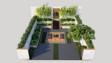 مدل سه بعدی لندسکیپ باغ حیاط پارک آلاچیق دکوراسیون فضای سبز استخر صندلی حصیری کلبه
