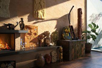 مدل سه بعدی دکوراسیون کلاسیک قدیمی آفریقایی مجسمه قاب دیواری