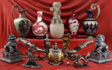 مدل مجسمه تزئینی دکوری موزه چینی باستانی کوزه سفالی شمشیر مجسمه بودا