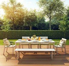 مدل سه بعدی میز غذاخوری چوبی آیکیا ایکیا صندلی چوبی نیمکت تراس بالکن