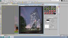 فیلم آموزش ساخت برج آسمان خراش مدلینگ مدل سازی تکسچر متریال رندر شب وی ری تری دی مکس شرکت ویزکوربل