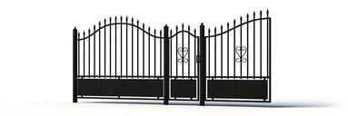 مدل سه بعدی نرده فنس در ورودی فرفروژه در پارکینگ نرده فلزی چوبی وی ری تری دی مکس